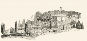 Blick von Forte di Belvedere auf den Arcetri-Hügel mit Torre del Gallo
