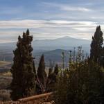 Blick vom Dom auf den Monta Amiata, das Val d'Orcia