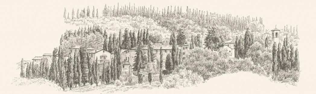 Zeichnung Fonterutoli bei Castellina in Chianti