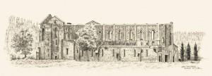 Abbazia San Galgano, Toskana, Zeichnung