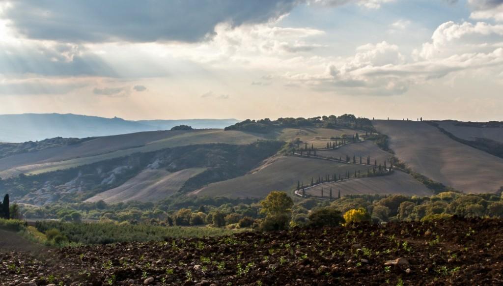Blick von La Foce auf die 'Via San Leonardo'