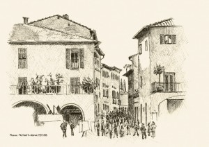 Piazza Matteotti, Greve, Toskana, Zeichnung